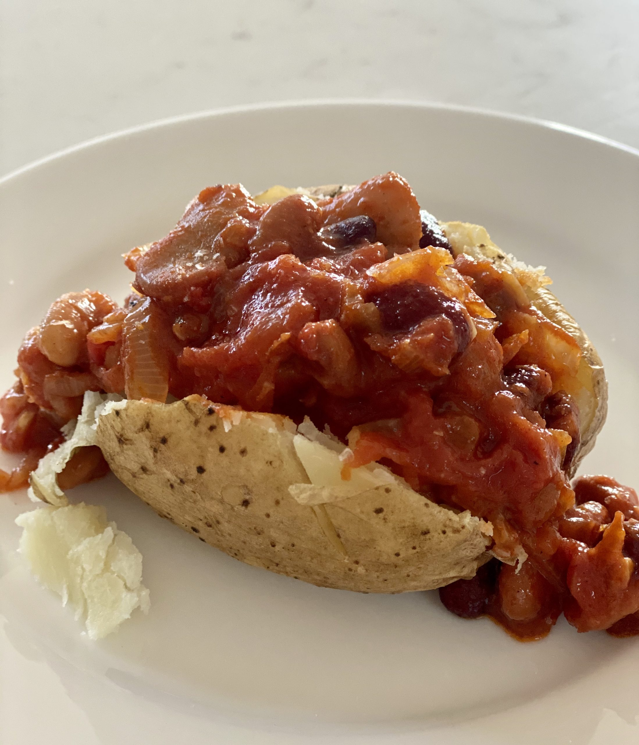Home made Baked Beans and Baked Potato
